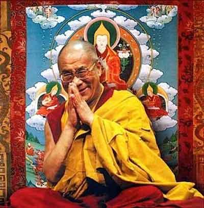 Dalai Lama at a public teaching on Buddhism