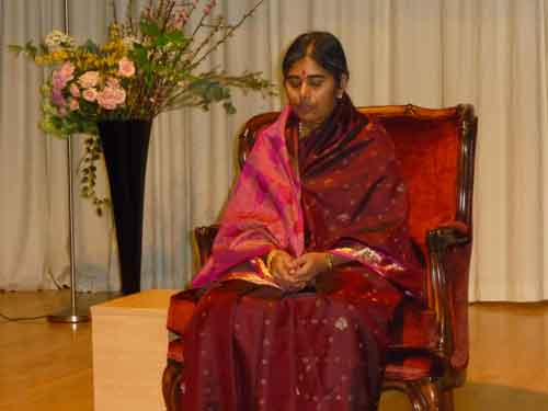 Mother Meera travels the world giving silent darshan