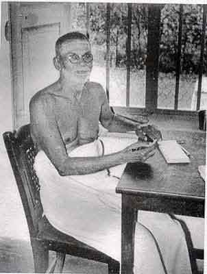 Muruganar at his desk in his later years. He wrote exclusively about Ramana Maharshi.