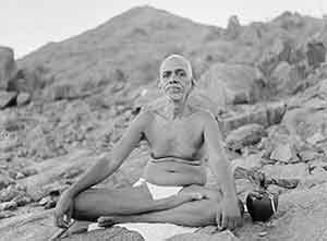 ramana maharshi sitting lotus on Arunachla Mountain